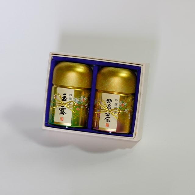 京都利休園 お茶 玉露・特上煎茶詰合せ 玉露100g 特上煎茶100g お中元 お茶ギフト ギフト 国産 茶葉 NISHIKI-40