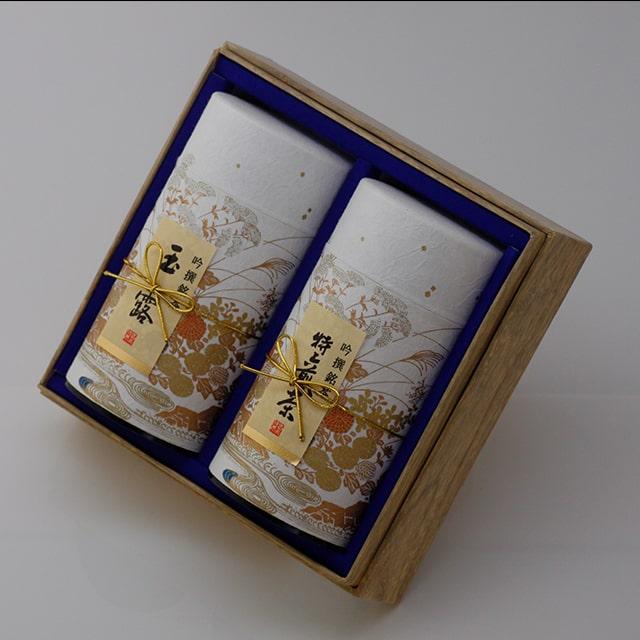 京都利休園 お茶 玉露・特上煎茶詰合せ 玉露120g 特上煎茶120g お中元 お茶ギフト ギフト 国産 茶葉 S-802